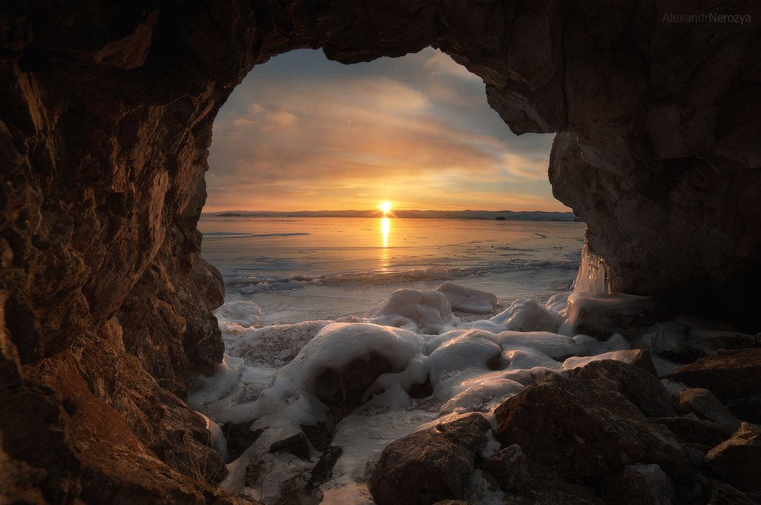 байкал, закат, природа, красивый, пейзаж, иркутск, сибирь, лед, скалы, малое море, огой, уюга, Александр 'Horimono' Нерозя