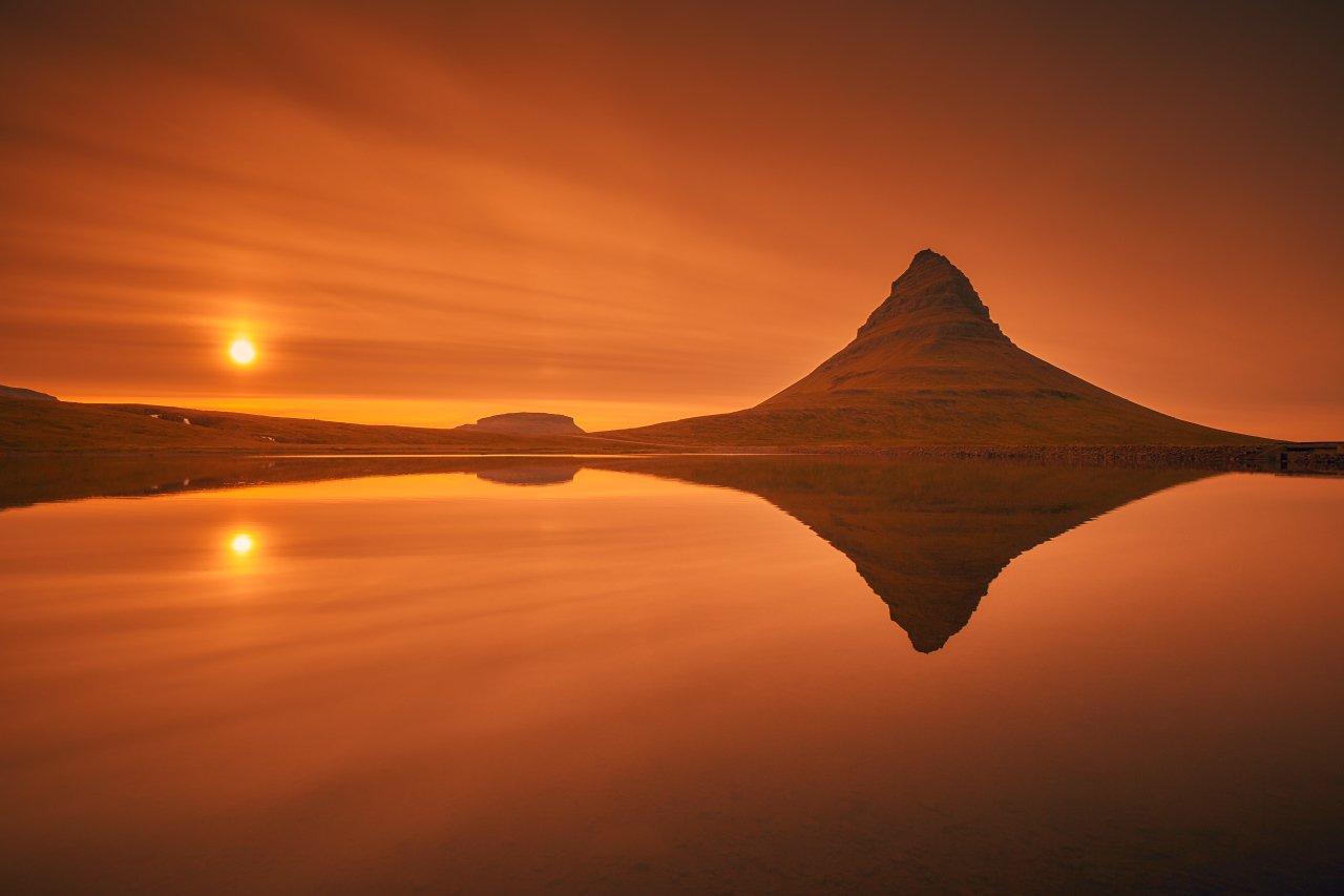 kirkjufell, iceland, grundarfjörður, snæfellsnes, sunset, red, canon 6d, Dirk Juergensen