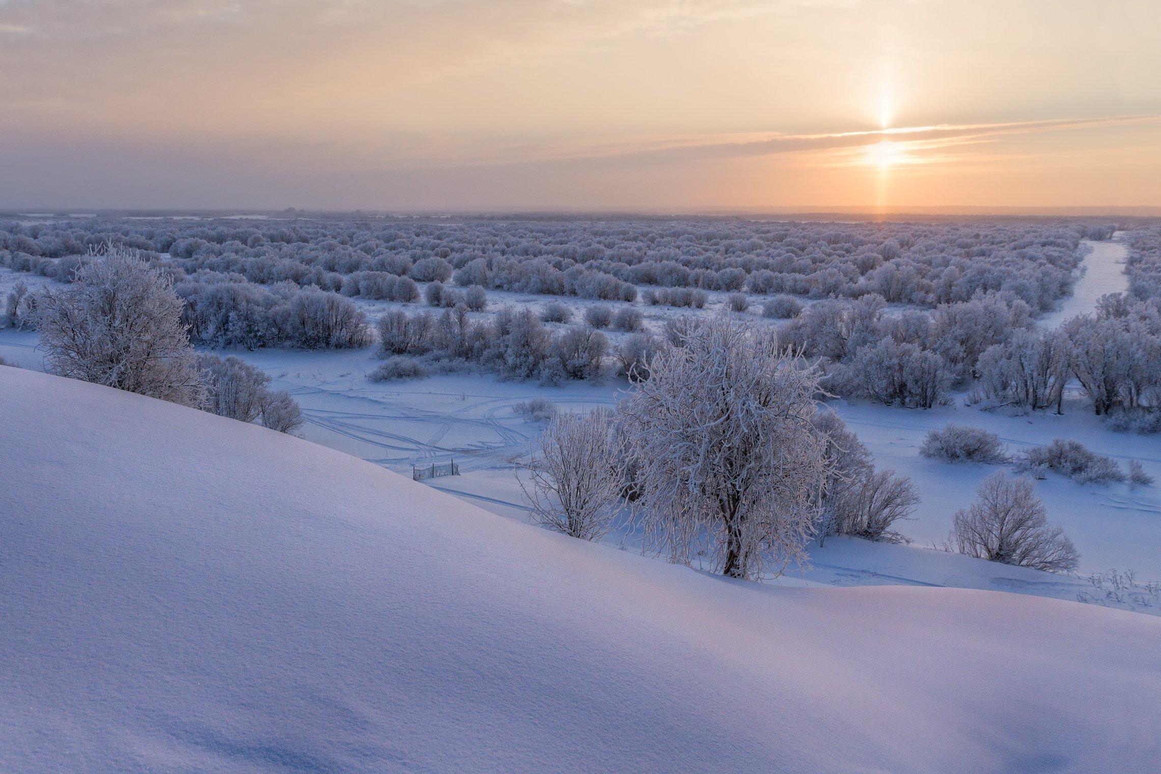 зима закат сугробы деревья иней солнце следы снег, Вера Ра