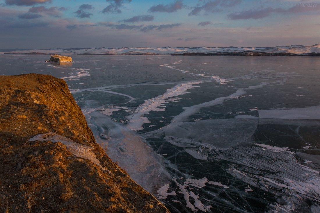 байкал, озеро, сибирь, рассвет, закат, малое, море, уюга, иркутск, россия, красивый, вода, зима, лед, берег, Александр Нерозя
