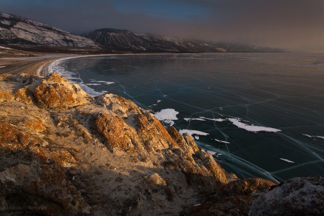 байкал, закат, природа, красивый, пейзаж, иркутск, сибирь, лед, скалы, малое море, огой, уюга, Александр Нерозя
