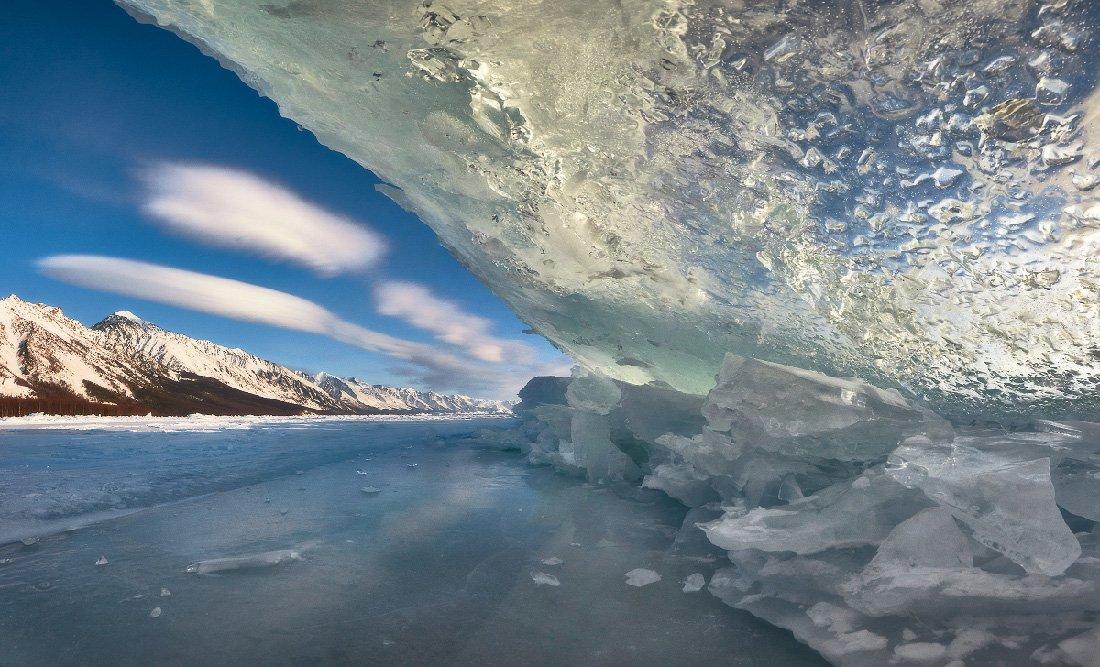 Байкал, зима, лёд, торосы, горы, небо, облака, Заворотный, Владимир Петрукович