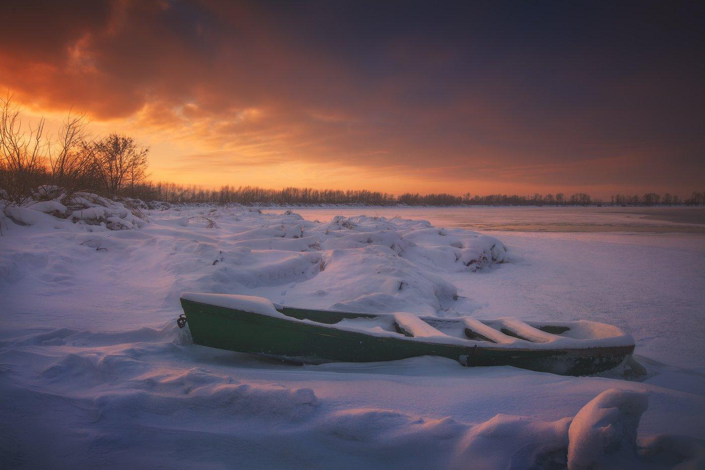 Закат, Зима, Лодка, Озеро, Снег, Шатура, Андрей Уляшев (Mercand)