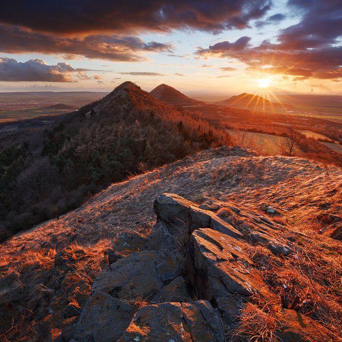 czech central mountains, czech republic, sunset, winter, hills, mountains, rocks, clouds, sky, travel, europe, landscape, nature, Martin Rak