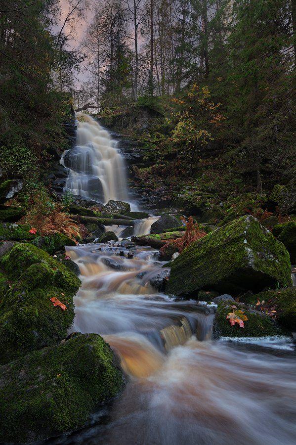 водопад, карелия, рассвет, Alex Darkside