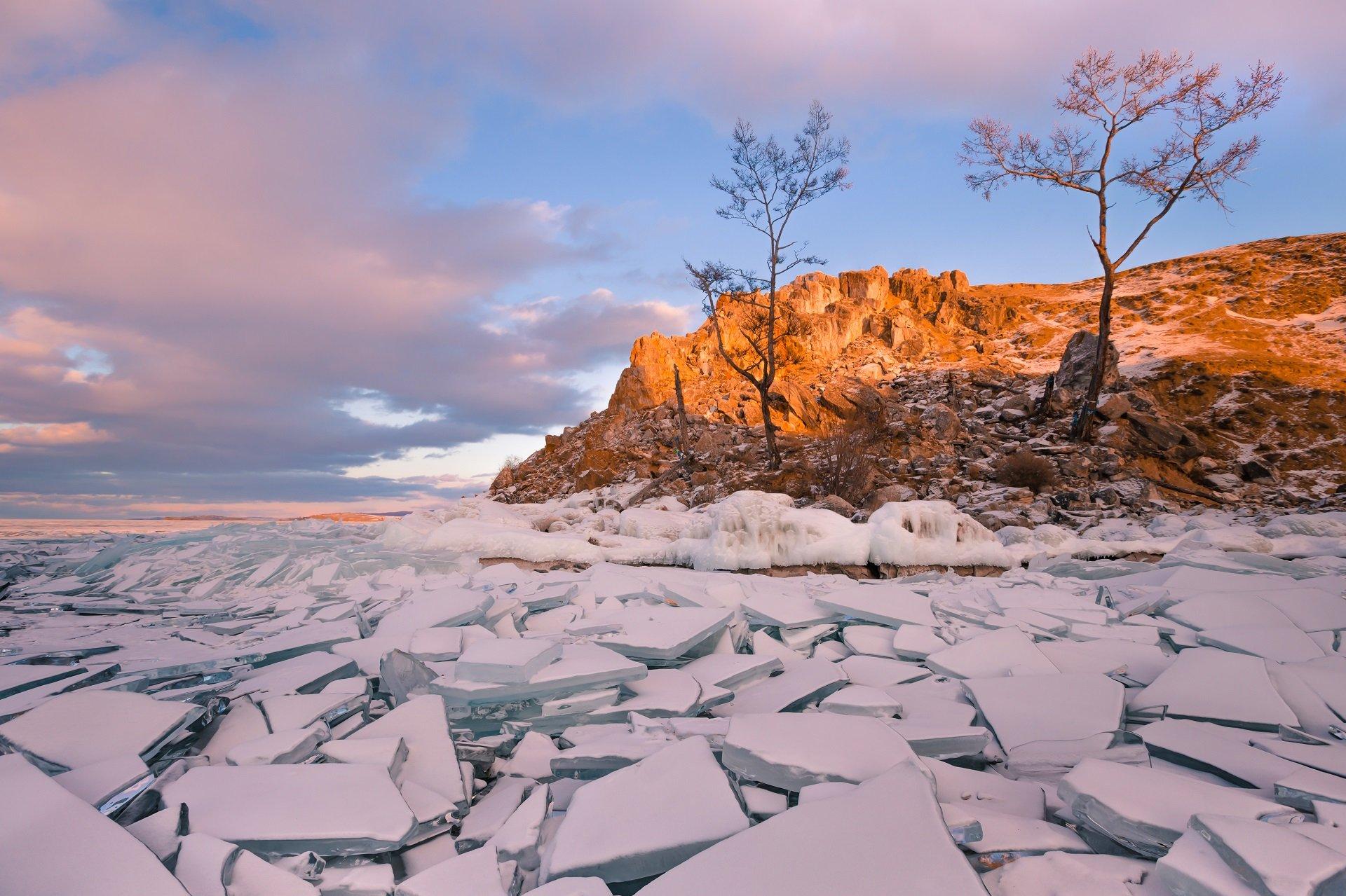 Лед, скалы, закат, Байкал, Ольхон, Малое Море, Виктор Зайцев