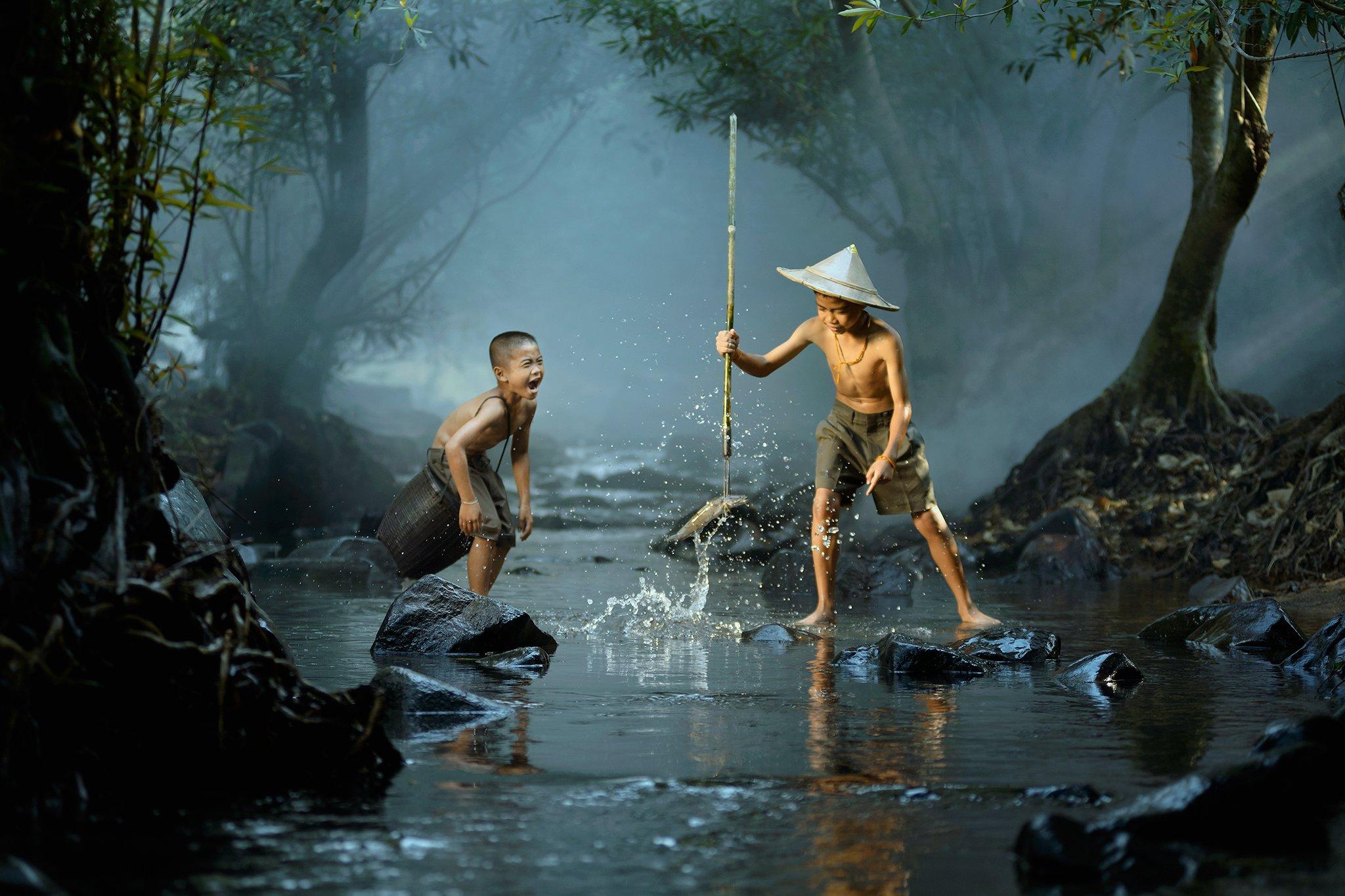 Action, Asia, Asian, Child, Children, Fisherman, Fishing, Happiness, Light, River, Saravut Whanset