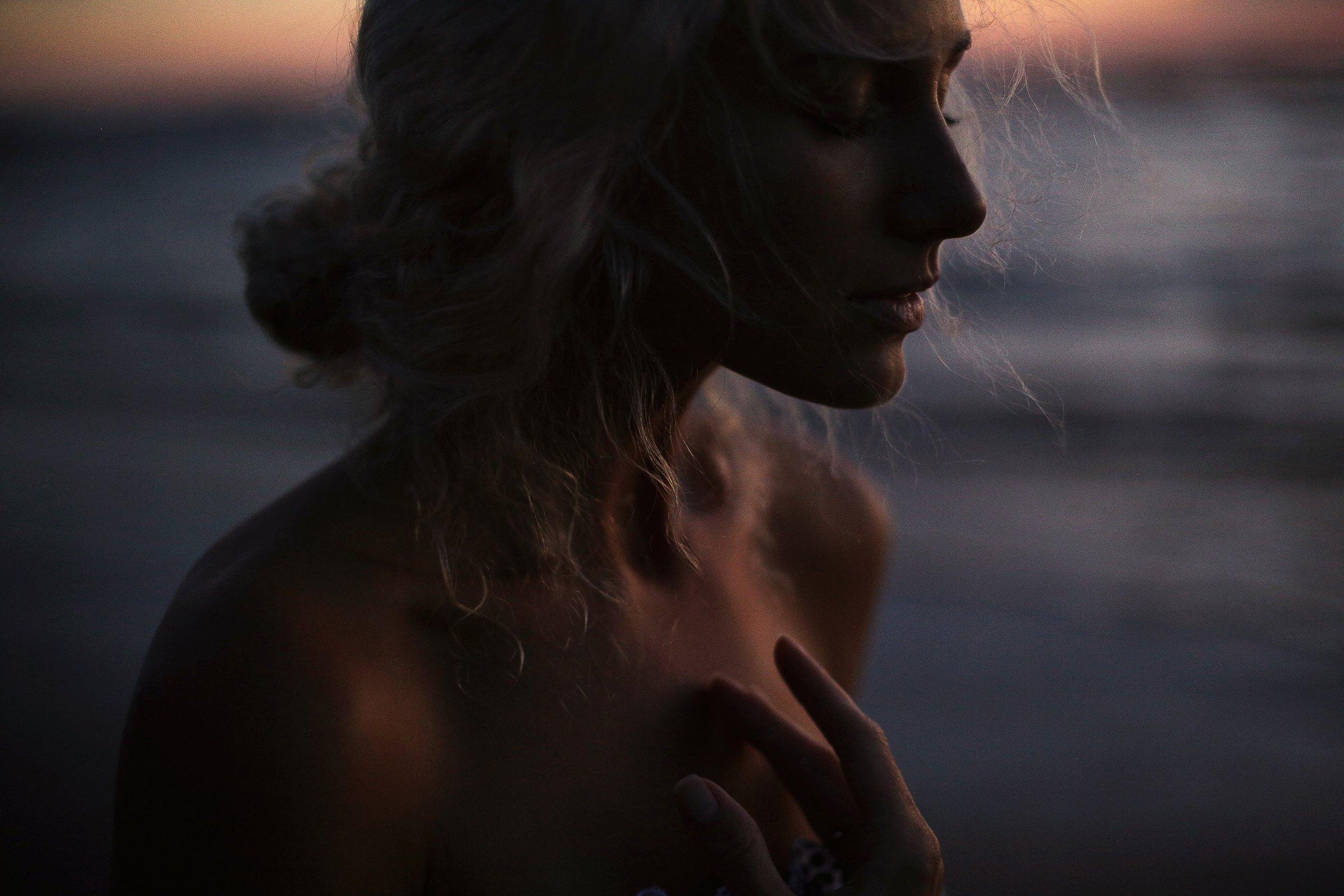 face, girl, ocean, portrait, sea, sunset, wind, SAHAROZA Александра  Аксентьева