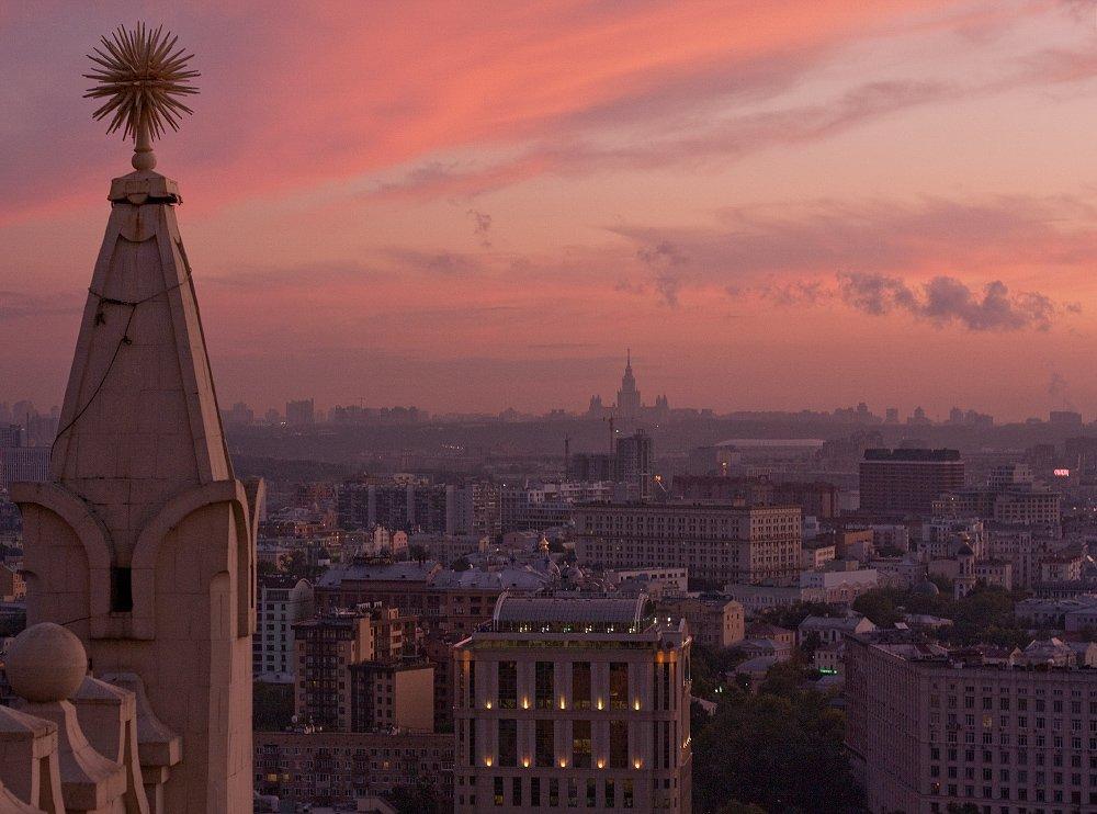 крыша, крыши, город, москва, вечер, закат, лето, жара, мгу, небоскрёбы, сказка, небо, Kremchik