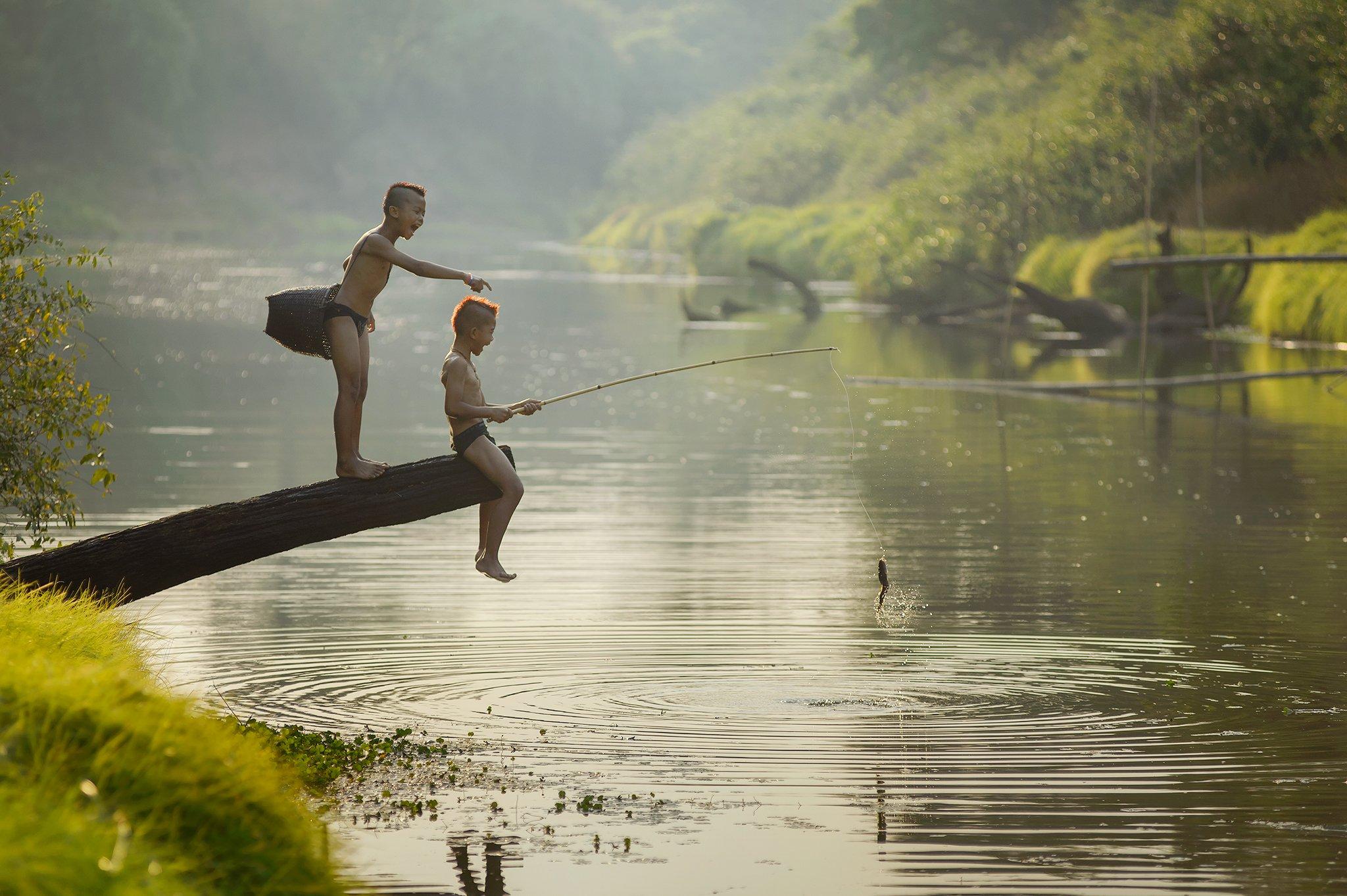 Action, Asia, Boy, Child, Children, Fisherman, Fishing, Outdoor, River, Saravut Whanset