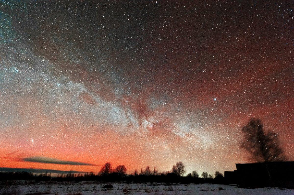 red airglow, андромеда, вега, денеб, млечный путь, свечение атмосферы, туманности, Борис Богданов