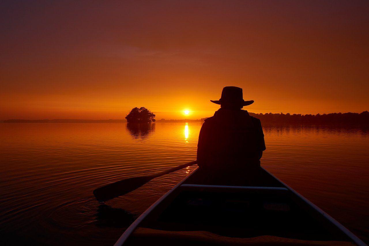 Plön, Plöner See, canoe, sunset, Dirk Juergensen