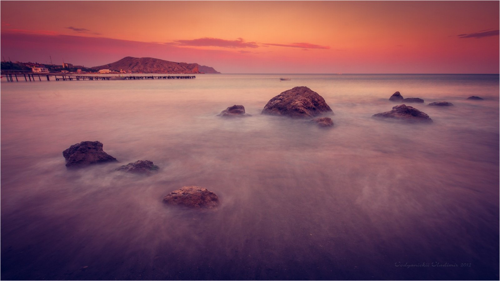 2012, Black sea, Закат, Камни, Крым, Море, Мостик, Судак, Черное море, Владимир Водяницкий