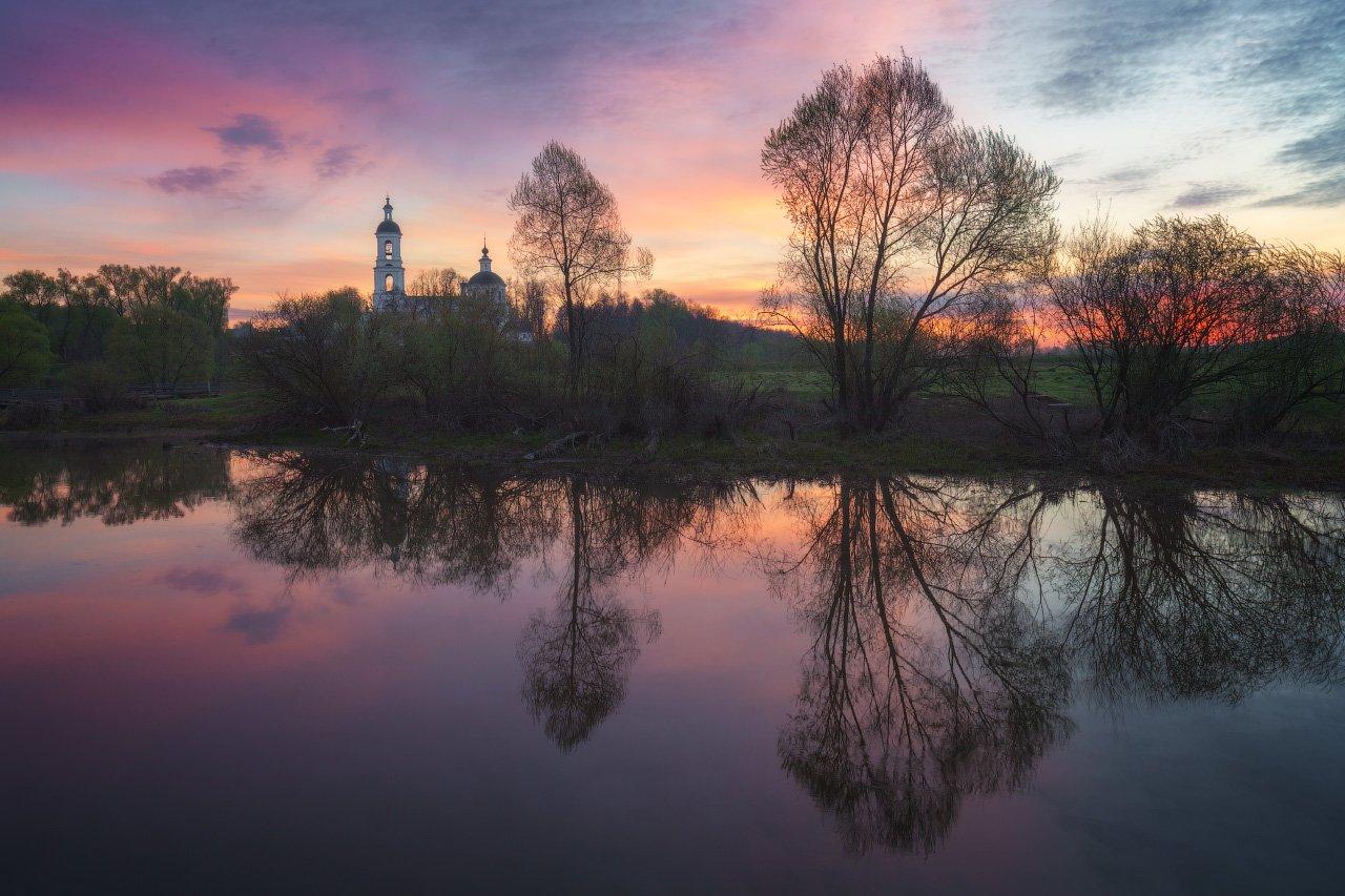 Пейзаж, Рассвет, Река, Филипповское, Церковь, Андрей Уляшев (Mercand)