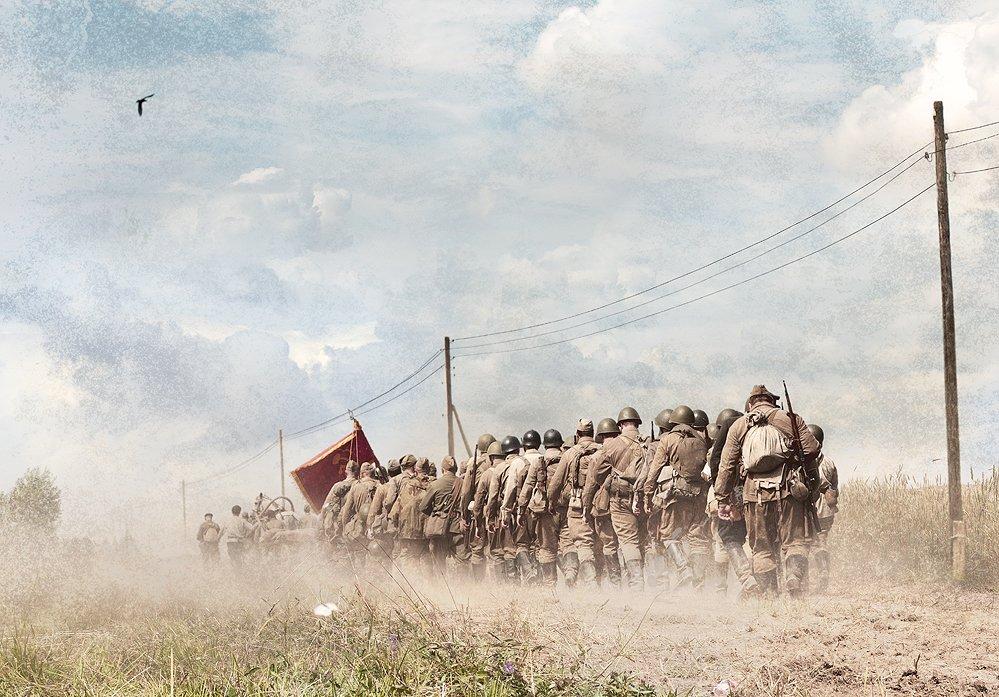 Война, Дорога, Красное знамя, Отряд, Поле дорога, Солдаты, Boji