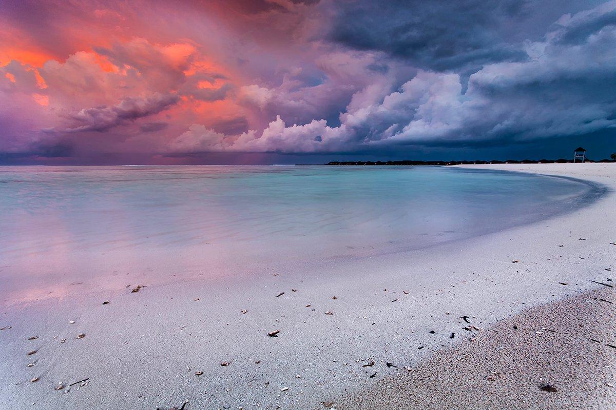 мальдивы, закат, океан, Павел Пронин