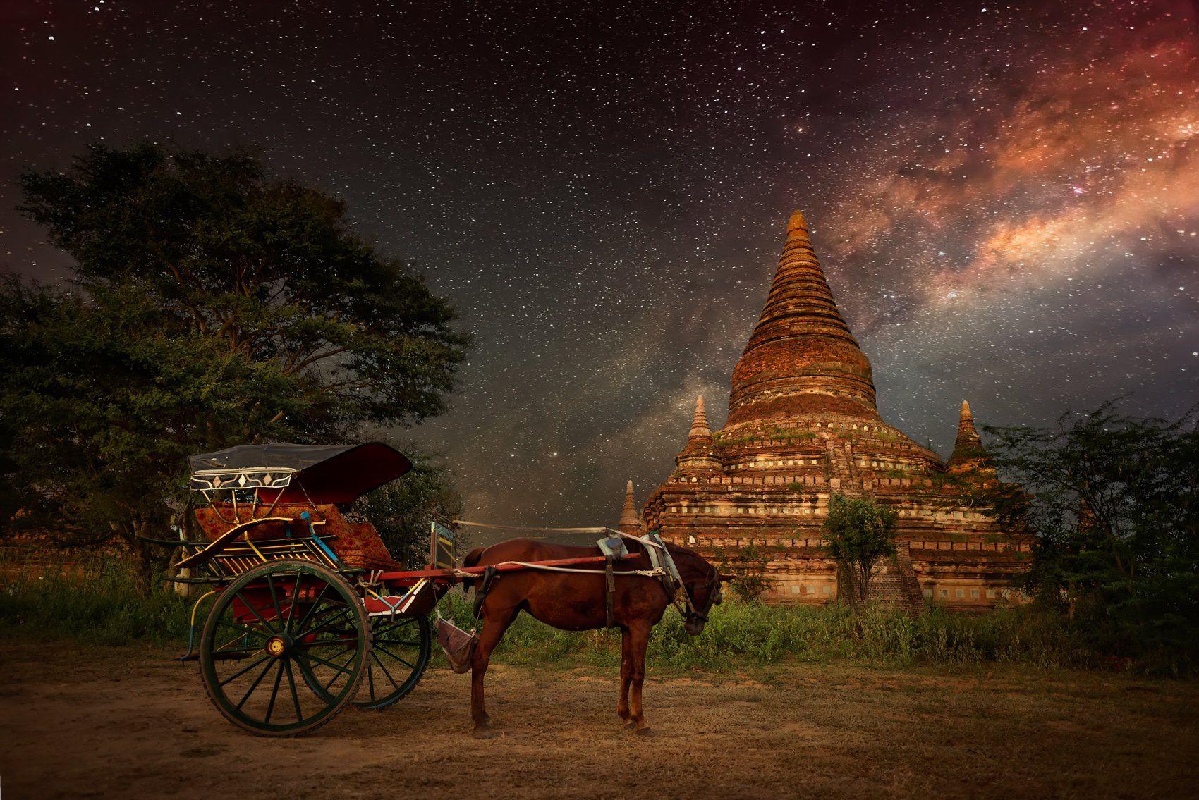 Bagan, Chorse, Milky way, Myanmar, Mystery, Pagoda, Soft Light