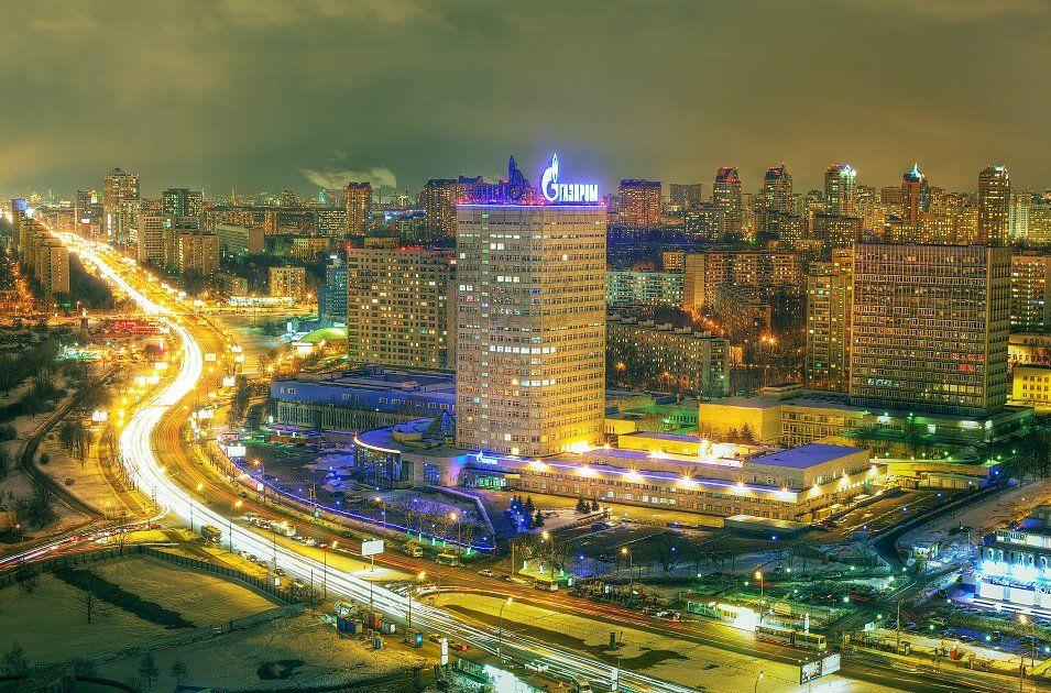 крыша, крыши, город, москва, ночь, газпром,, Kremchik