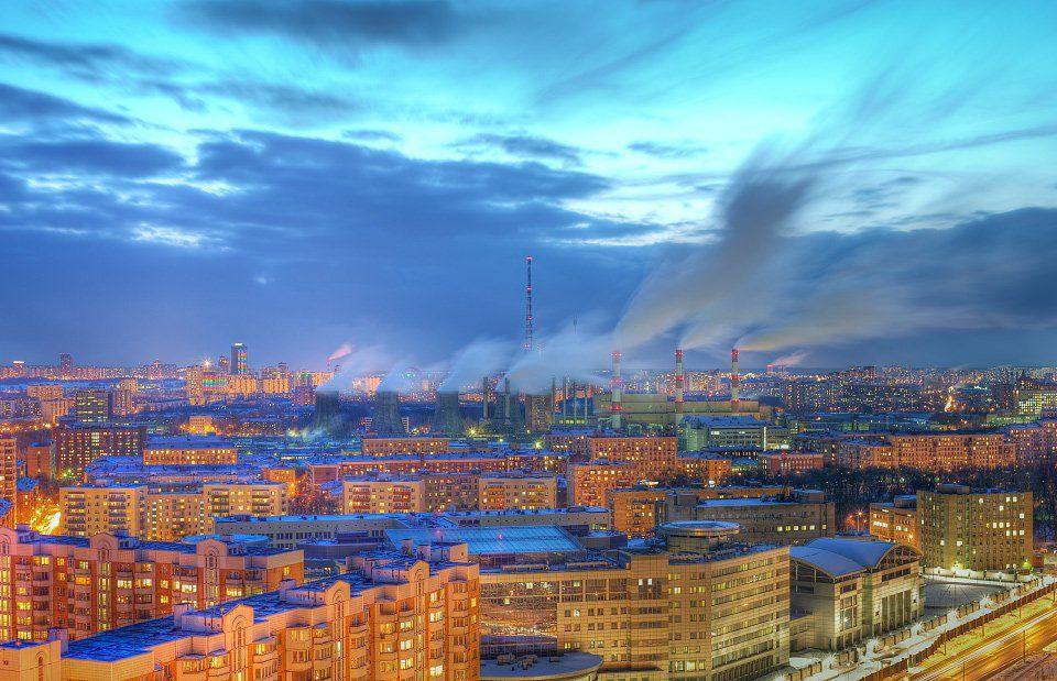 крыша, крыши, город, москва, ночь, пар, трубы, Kremchik