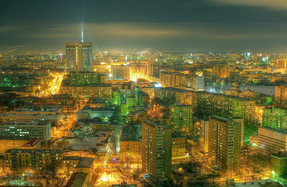 крыша, крыши, ночь, москва, город, Kremchik