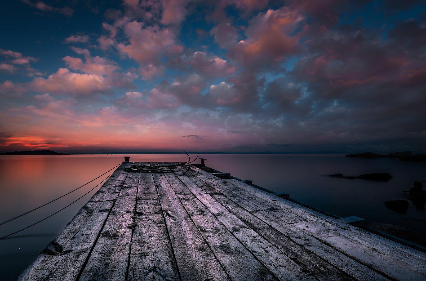sunset, sea, pier, sky, clouds, seascape, Jeni Madjarova