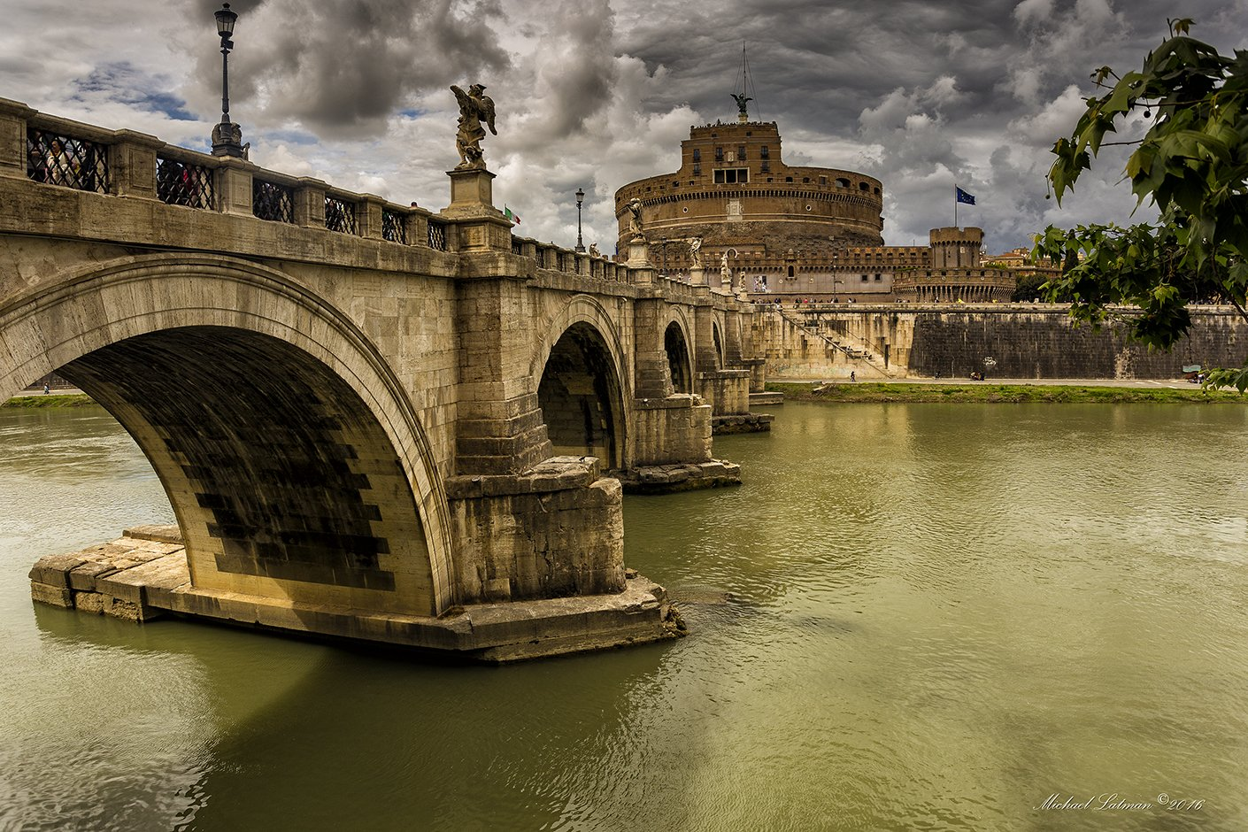 Ancient, Beautiful, Bridge, Castle, City, River, Rome, Tiber, Michael Latman