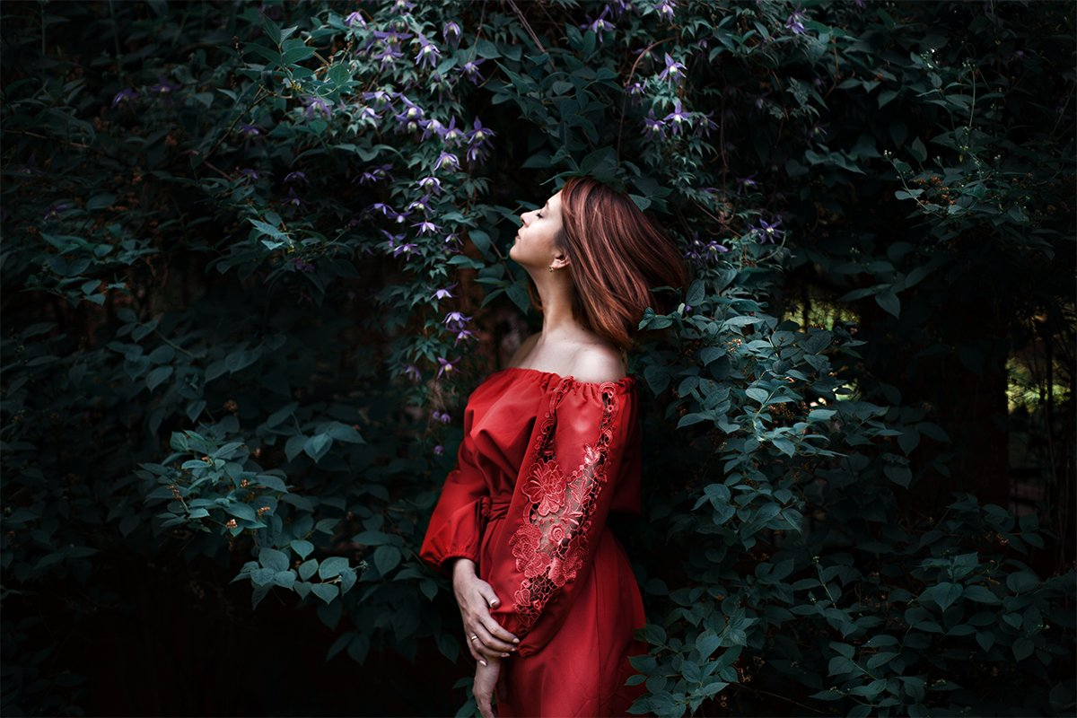 Dress, Flower, Girl, Red, Reddress, Summer, Aleksandra FOX