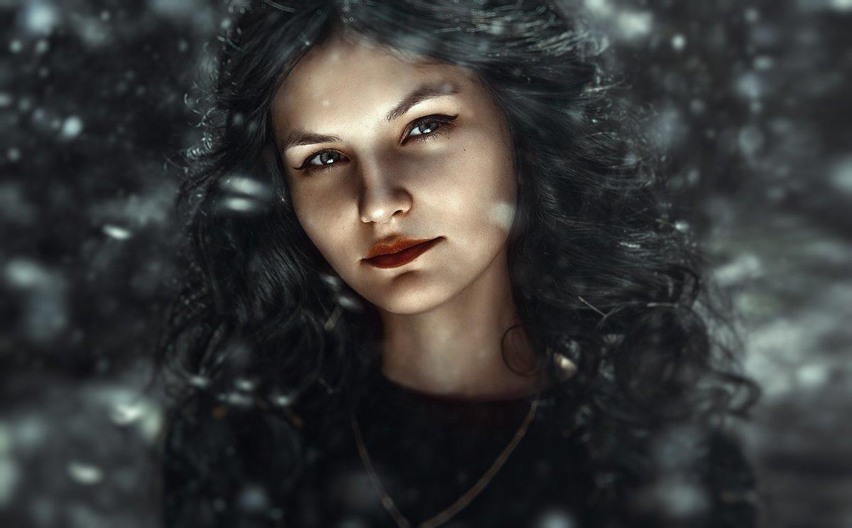cold, зима, снег, портрет, девушка, холодные цвета, уличный портрет, крупный портрет, ретушь, обработка, , Маховицкая Кристина