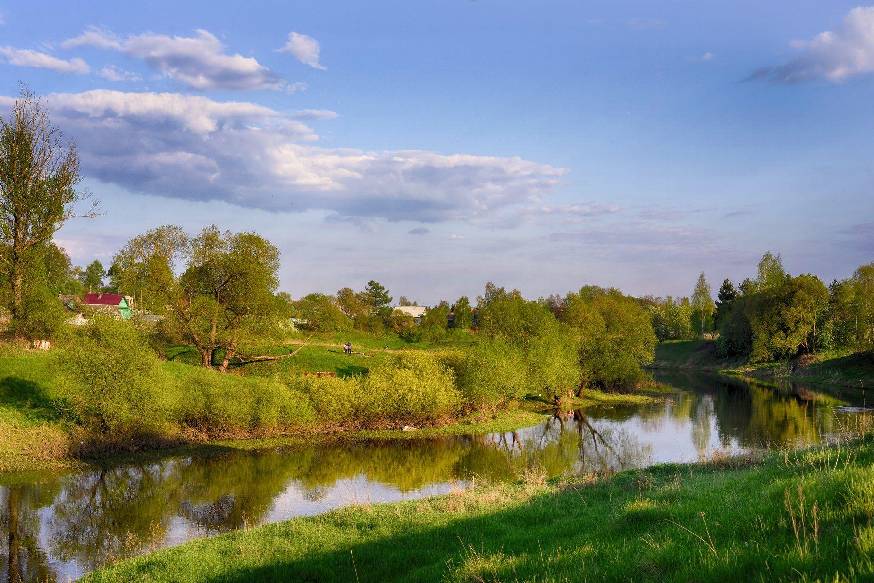 Весна, Небо, Пейзаж, Река, Лидия Киприч
