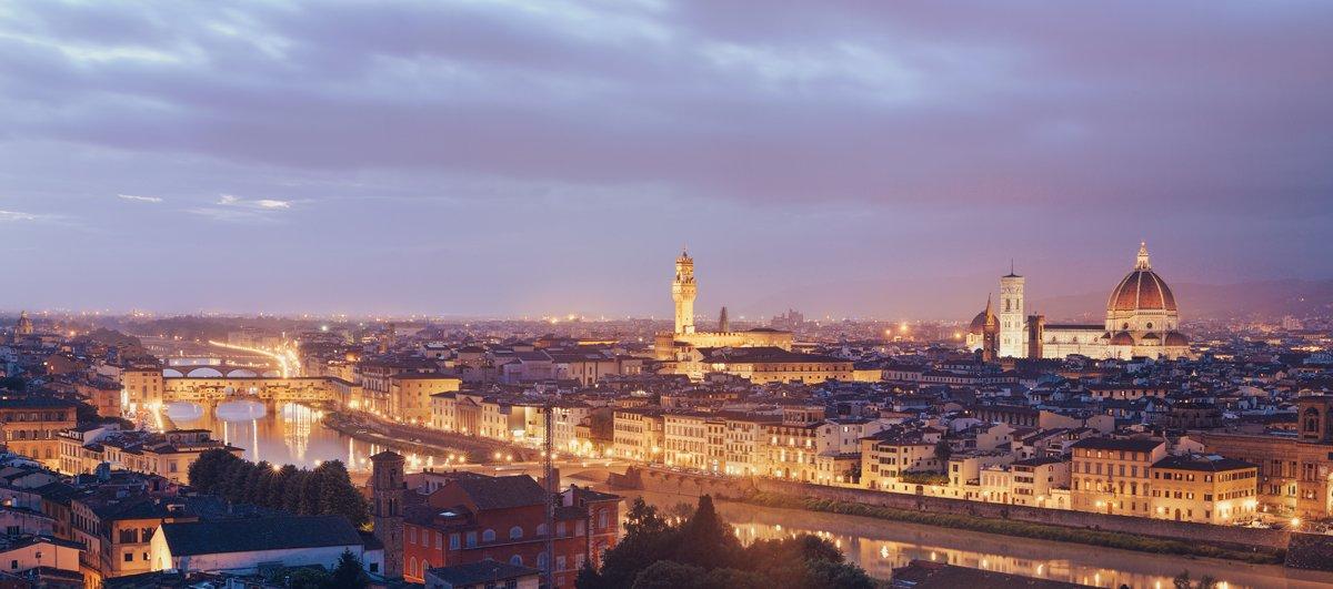 italy, florence, city, night, panorama, Бычков Денис