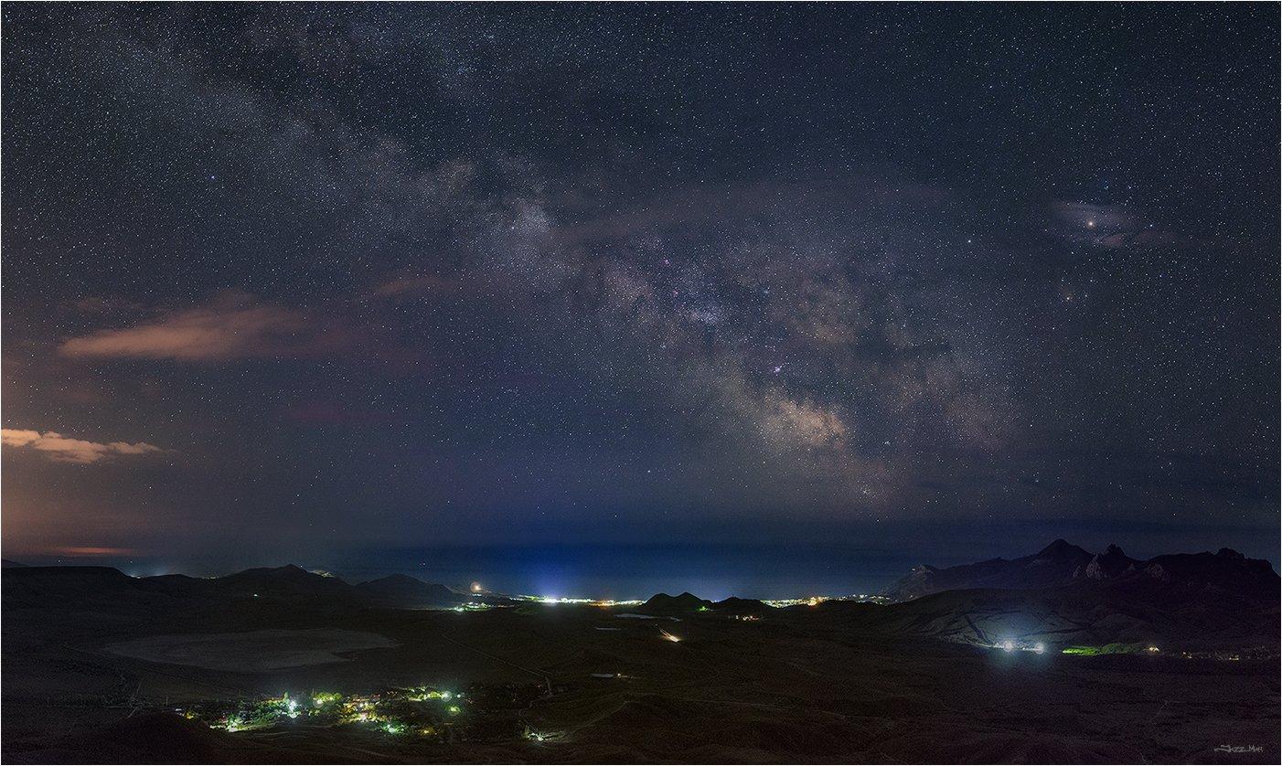 Галактика, Горы, Звездное небо, Звезды, Крым, Млечный путь, Море, Ночь, Панорама, Черное море, Jazz Man