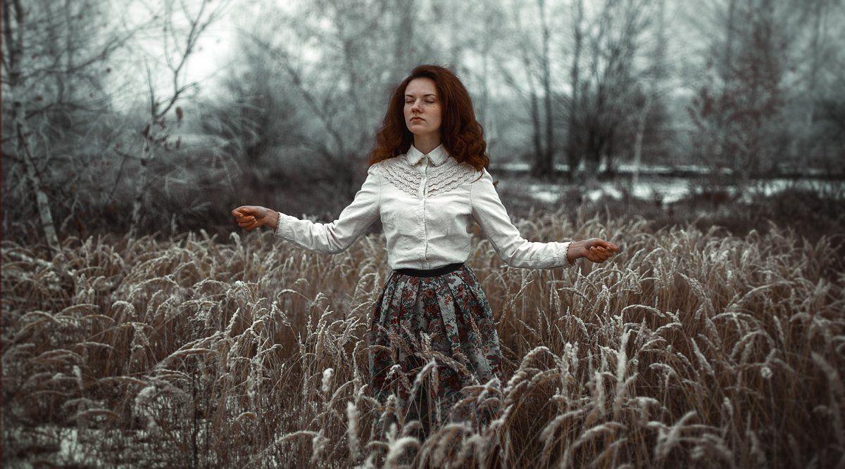 зима, поле, девушка, снежная, снег, Маховицкая Кристина