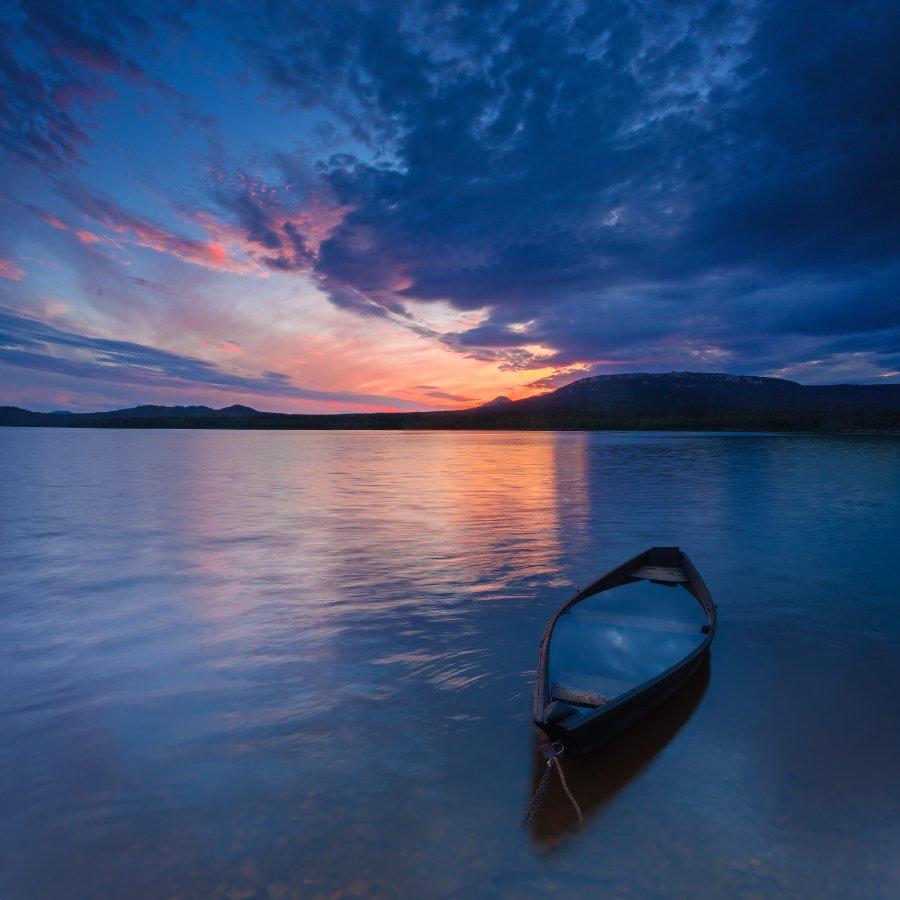 зюраткуль, закат, небо, лодка, облака, t_berg, Михаил Трахтенберг ( t_berg )