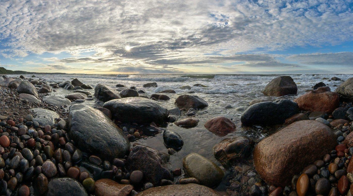 балтийское море, калининградская область, море, камни, облака, вечер., Владимир Петрукович