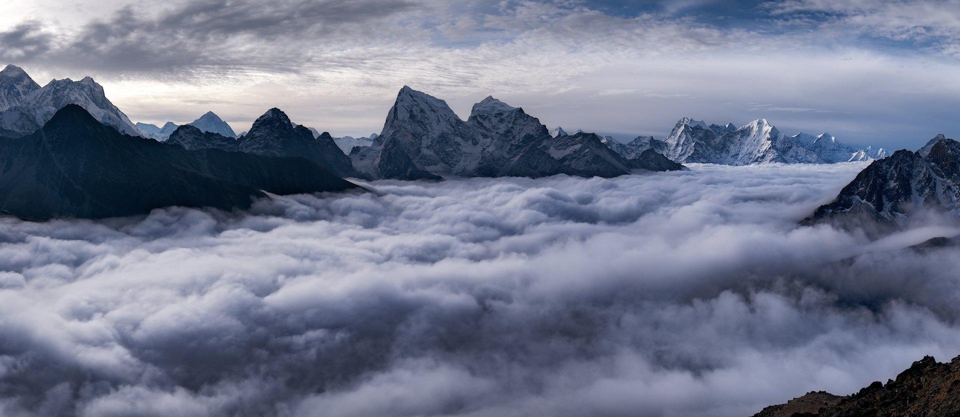 Гималаи, Гокио Ри, Непал, Облака, Рассвет, Алексей Харитонов