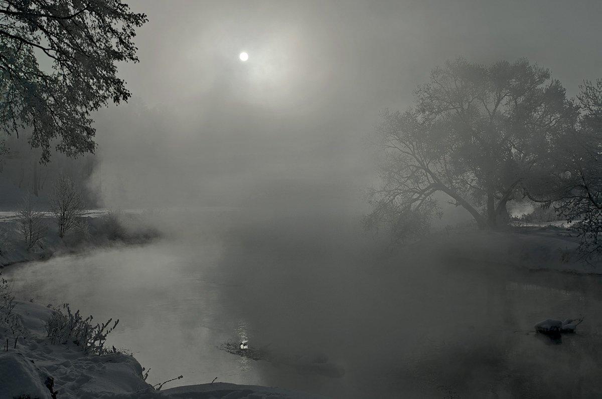 зима, река, солнце, туман, дерево, Макс Шамота