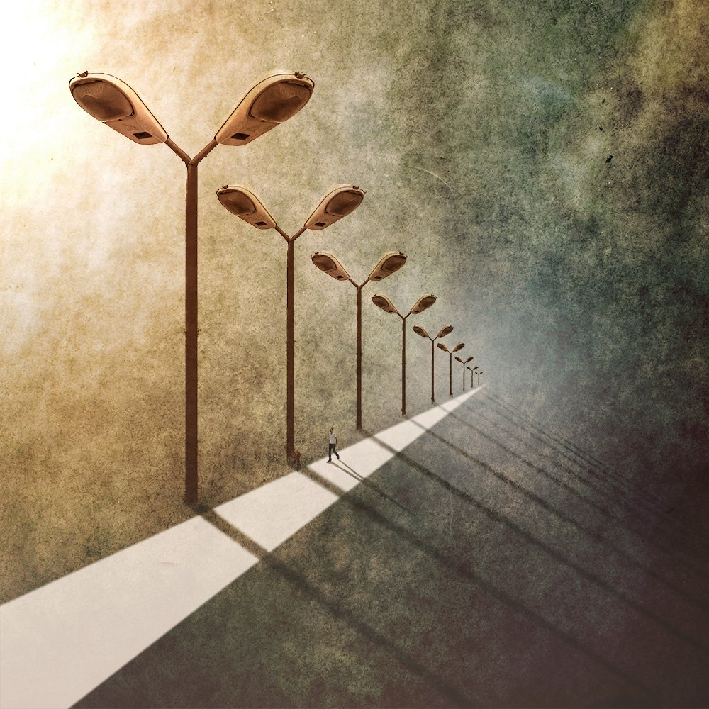 fineart, creative, conceptual, montage, photomanipulation, road, sun, texture, human, shadow,, Milad Safabakhsh