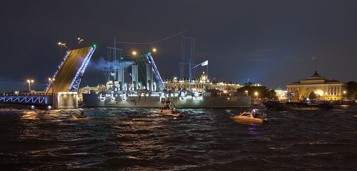 белые ночи, дворцовый мост, зимний дворец, крейсер аврора, санкт-петербург, эрмитаж, Alex Yurko