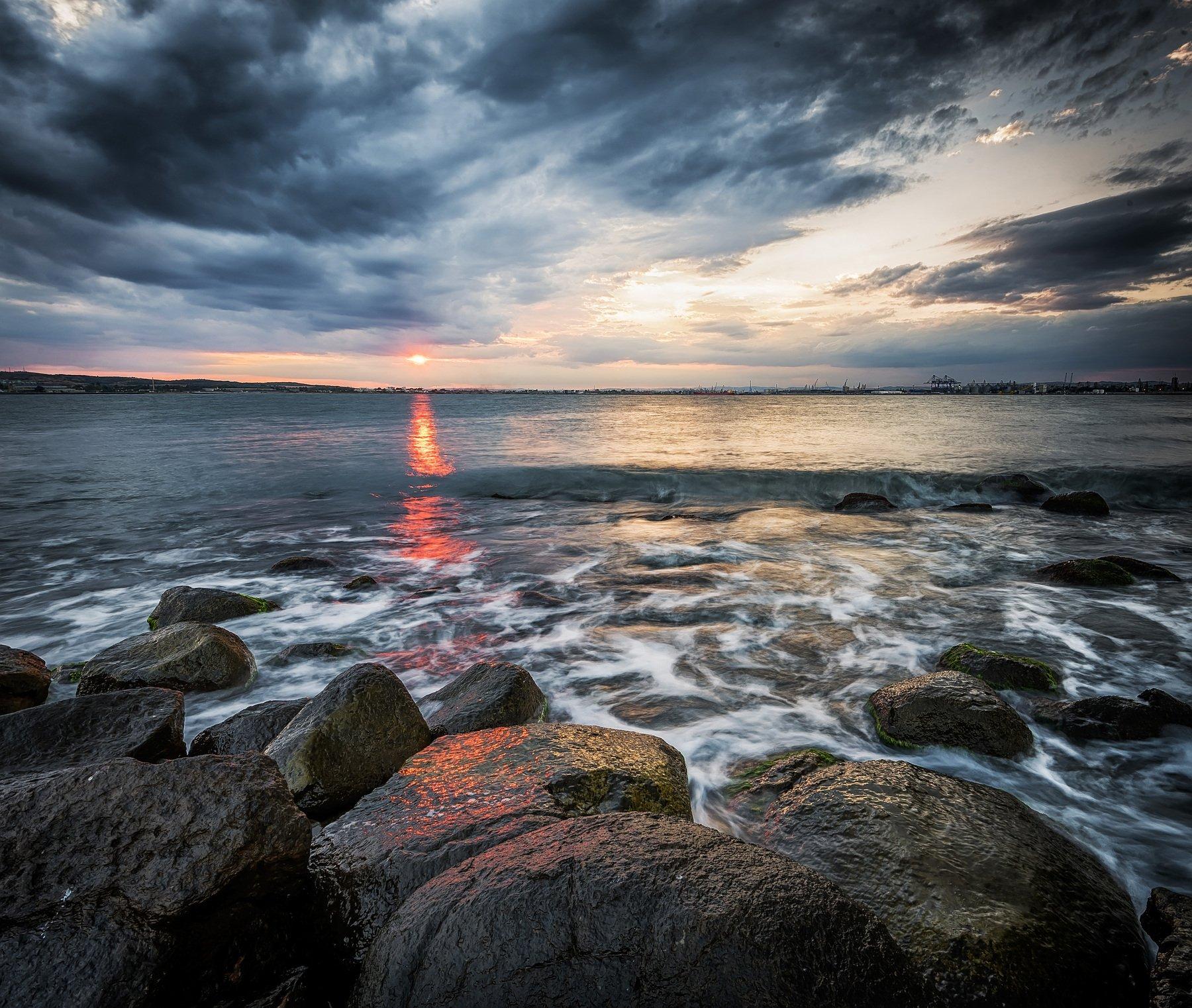 sunset, clouds, sun, sea seascape, rocks, Jeni Madjarova