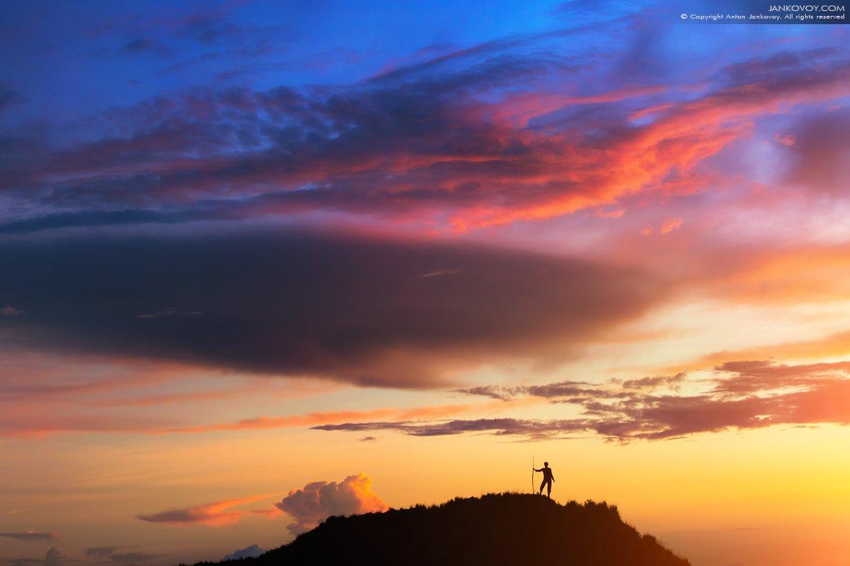 Индонезия, Бали, Батур, вулкан, закат, силуэт, путешествия, облака, странник, турист, путешественник, Антон Янковой (www.photo-travel.com)