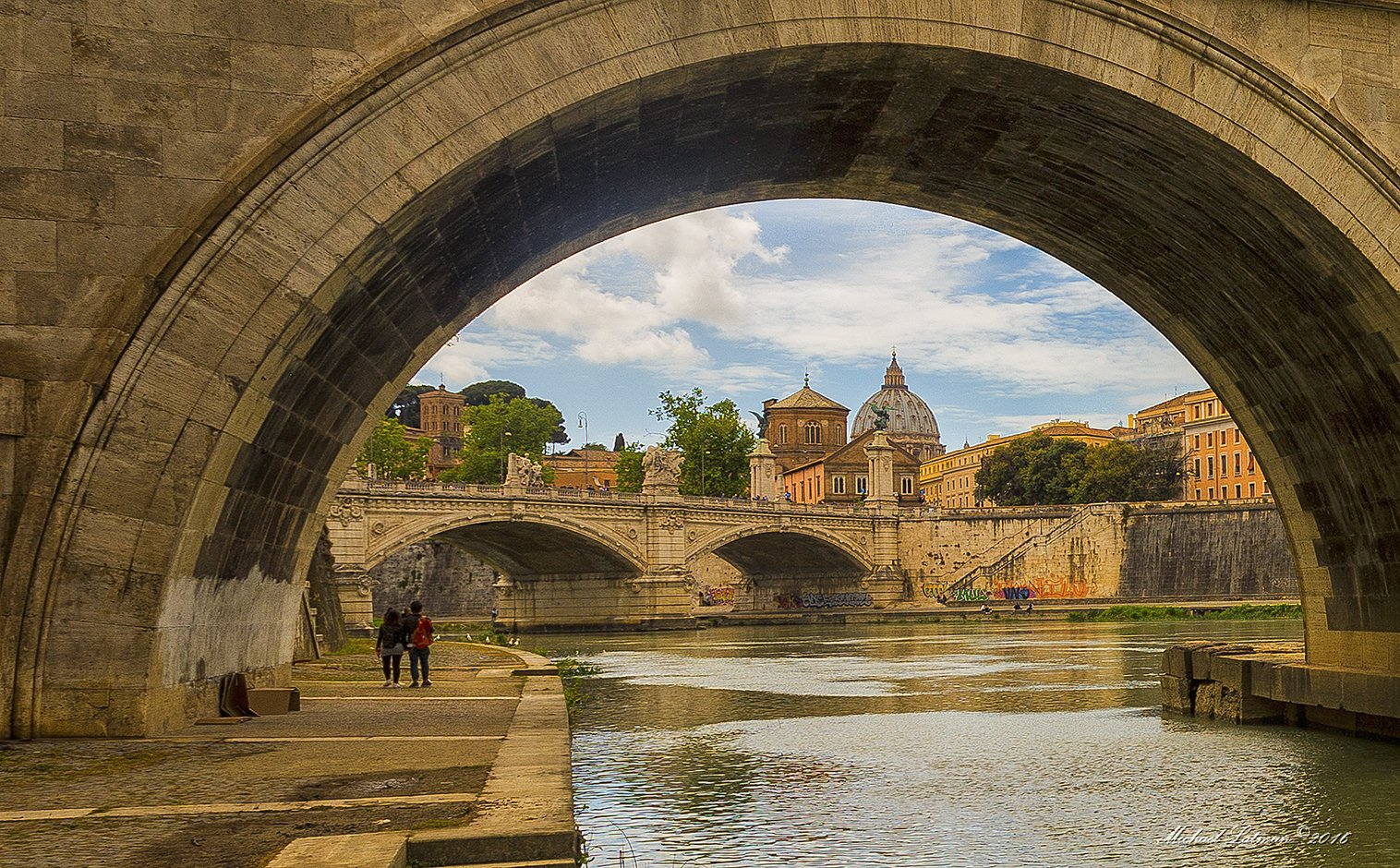 river,Tiber, city,Rome,bridge,calm,flow,Vatican, Michael Latman