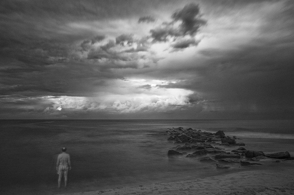 shoe sky ocean monochrome, Boris Zhitomirsky
