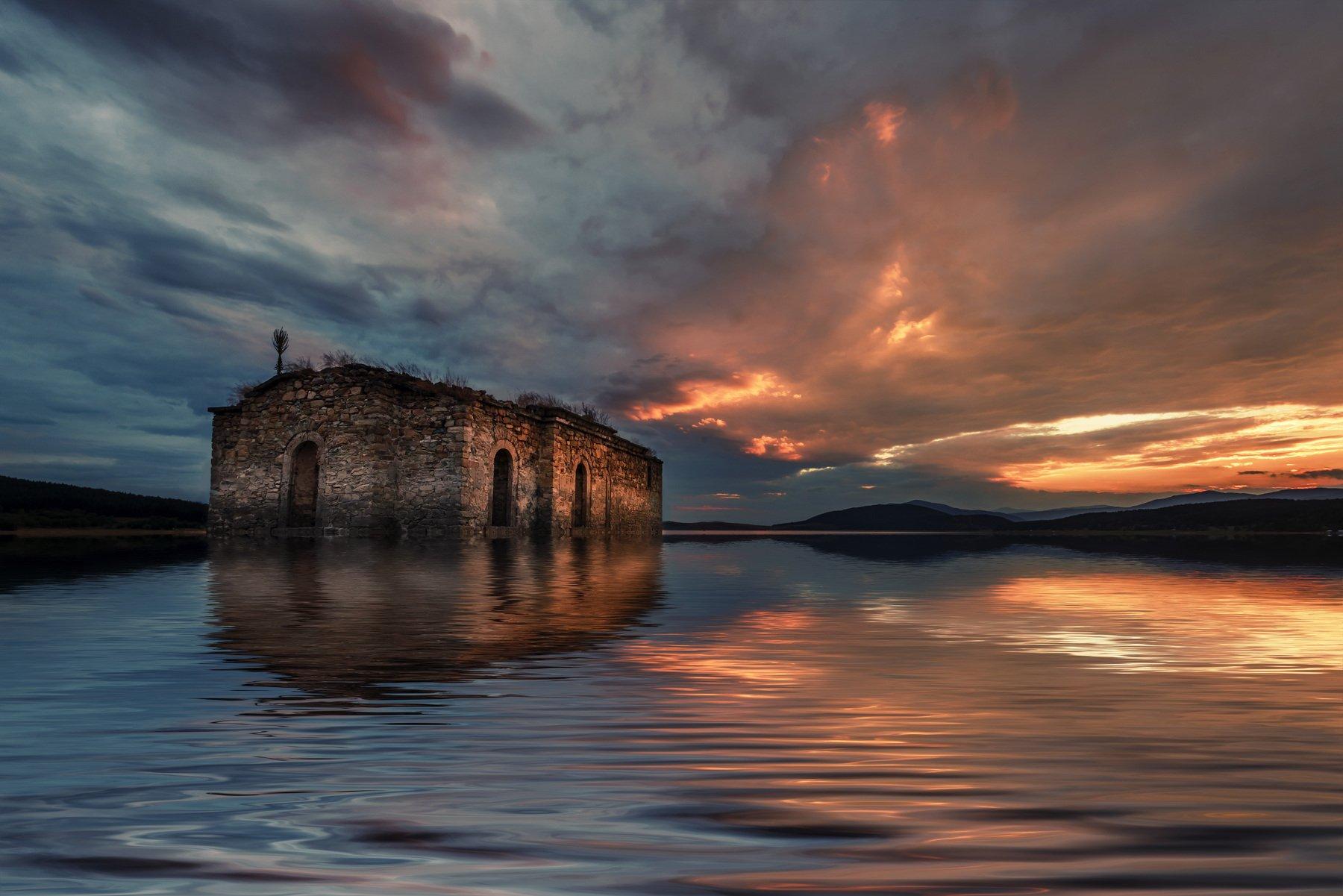 sunset, dam, water, landscape, church, clouds, sky, golden, Jeni Madjarova