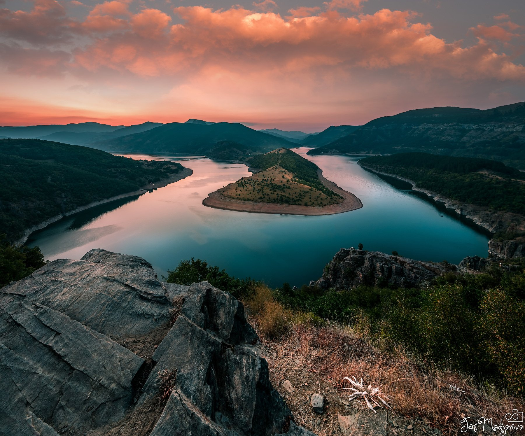 sunset, river, turn, sky, clouds, landscape, rock, tree, forest, mountain, Jeni Madjarova