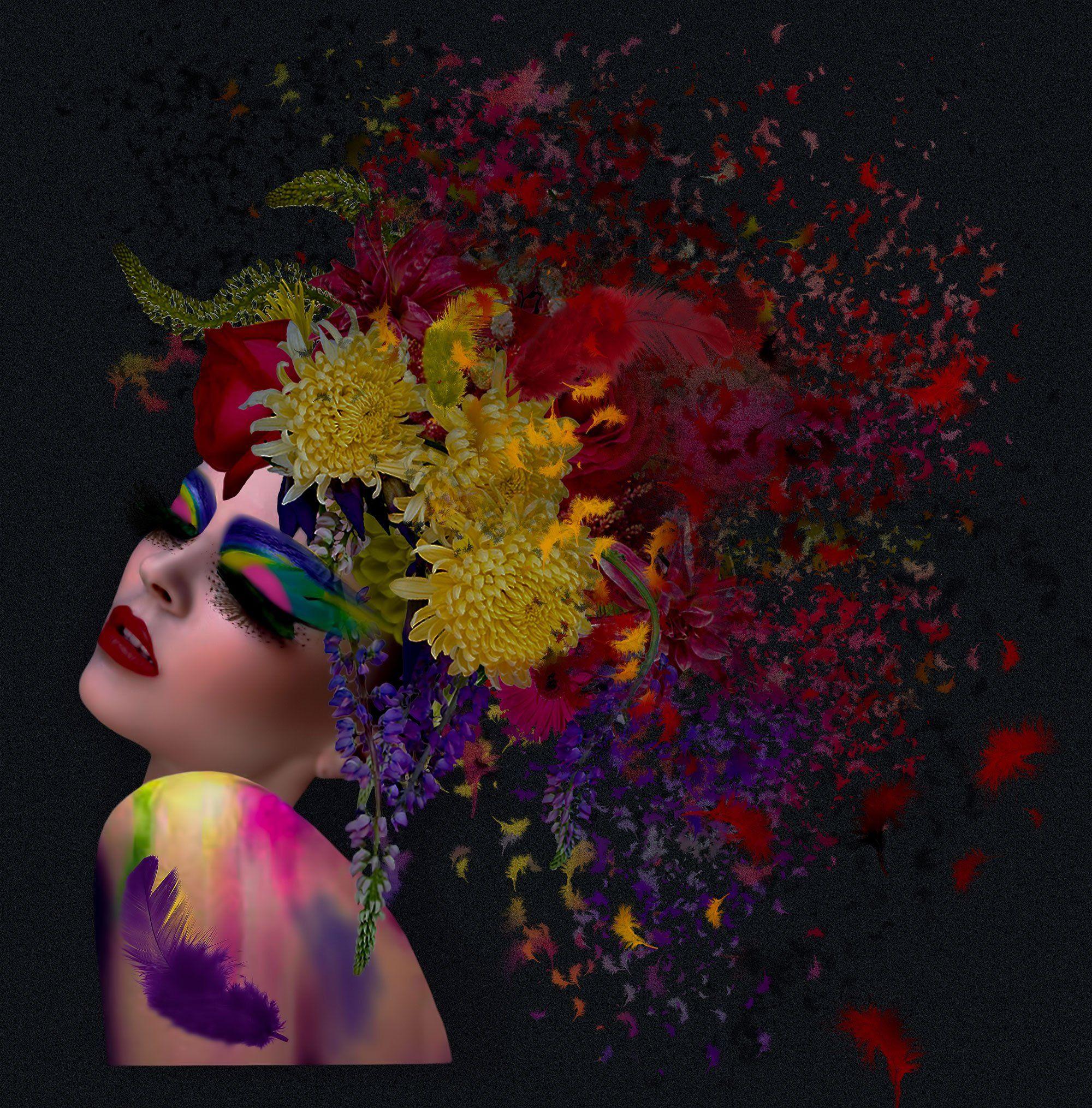 девушка, краски, перья, Nataliorion