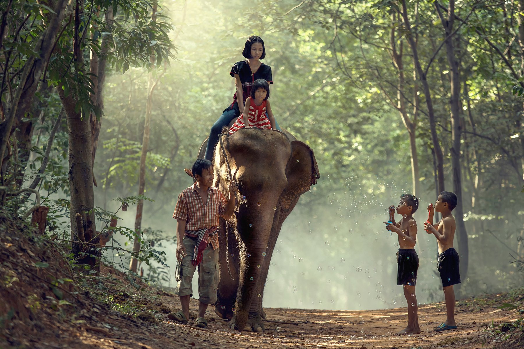 elephant,family,children,girl,boy,life,asia,people,, SUTIPORN SOMNAM