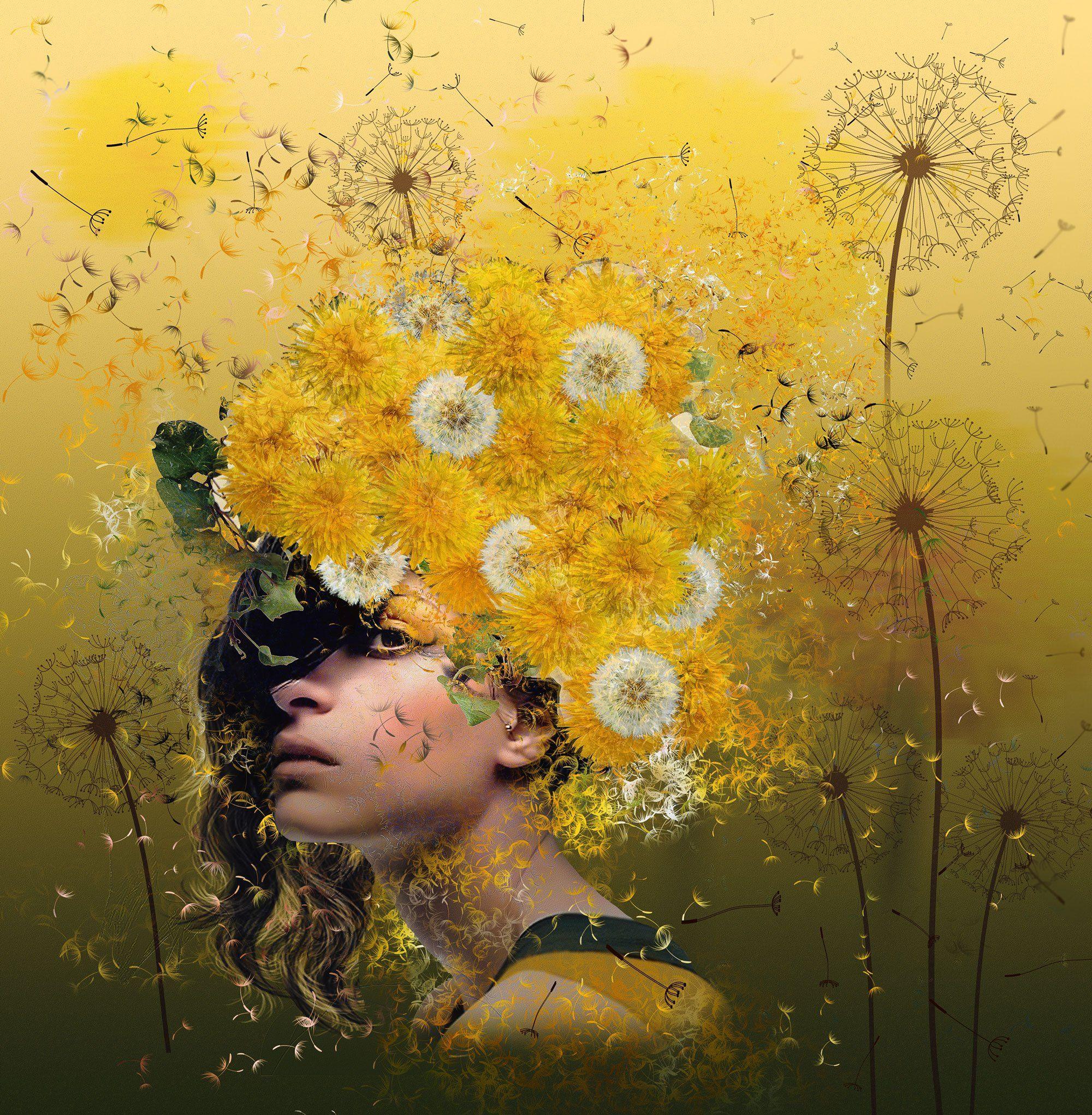 Девушка, Жёлтые цветы, Одуванчики, Nataliorion
