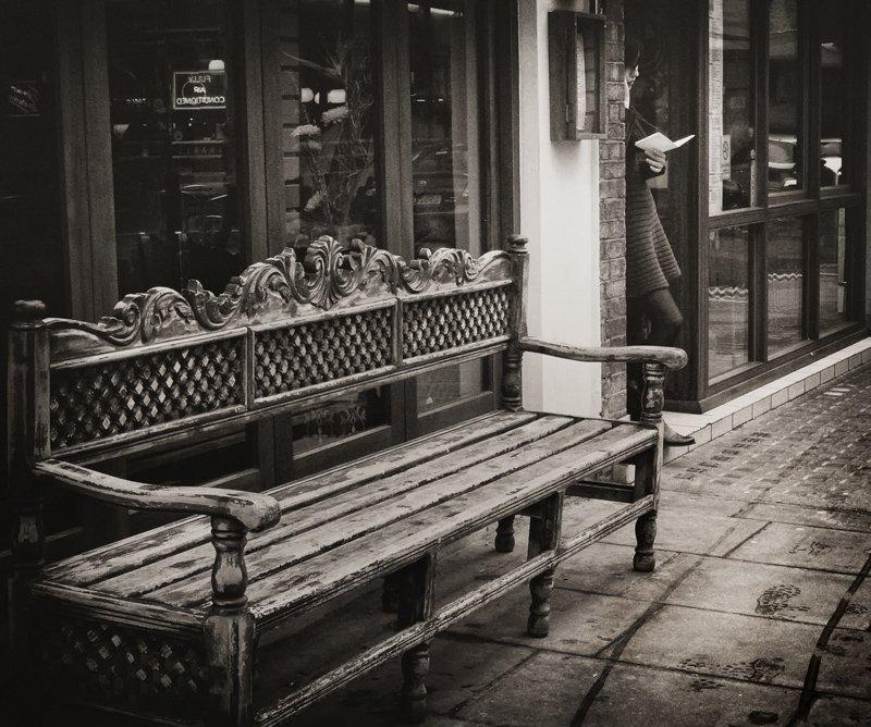 девушка, письмо, скамейка, след, Slowhill