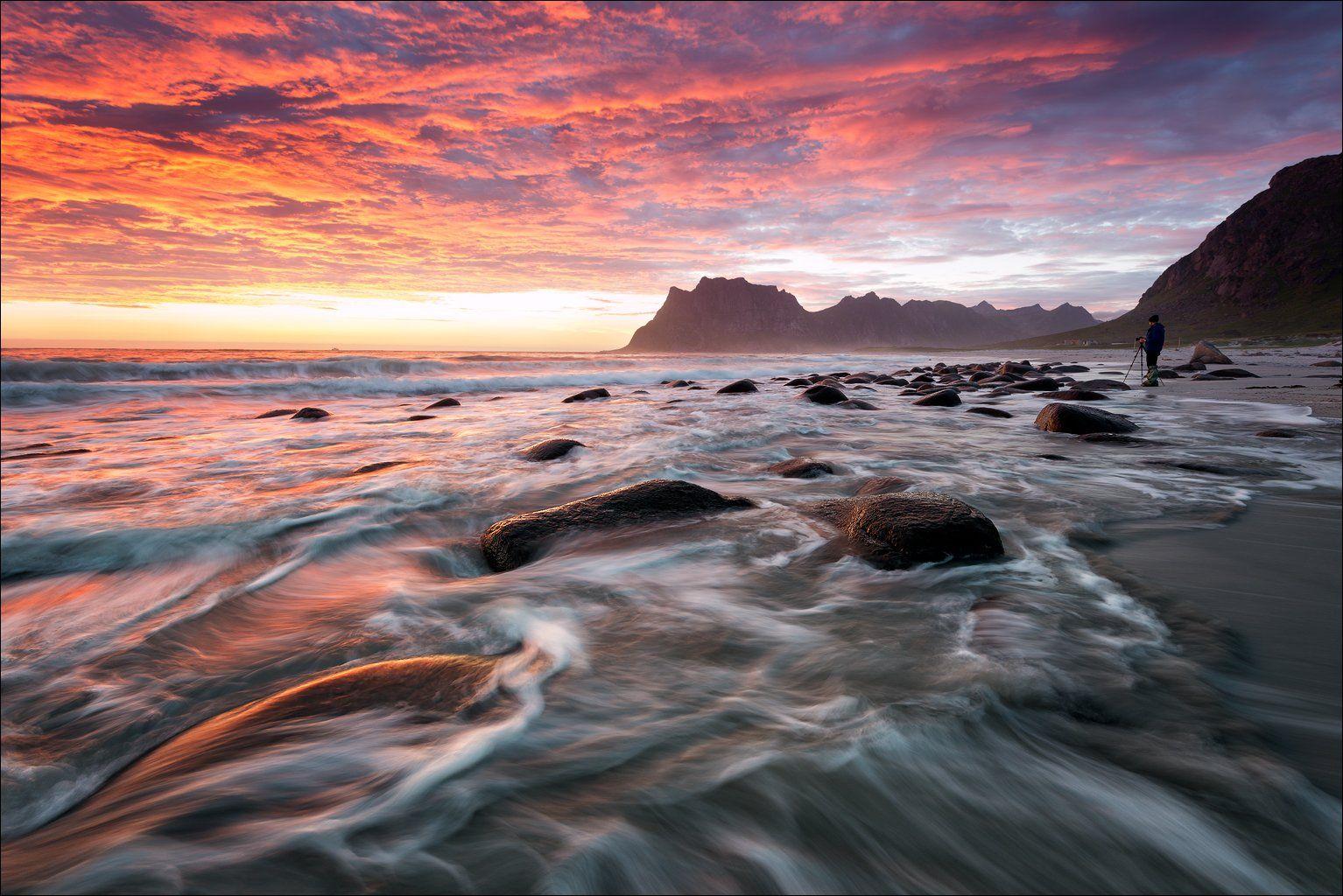 beach, beautiful, burning sky, magic, norway, ocean, sunset, travel, Роман Стативка