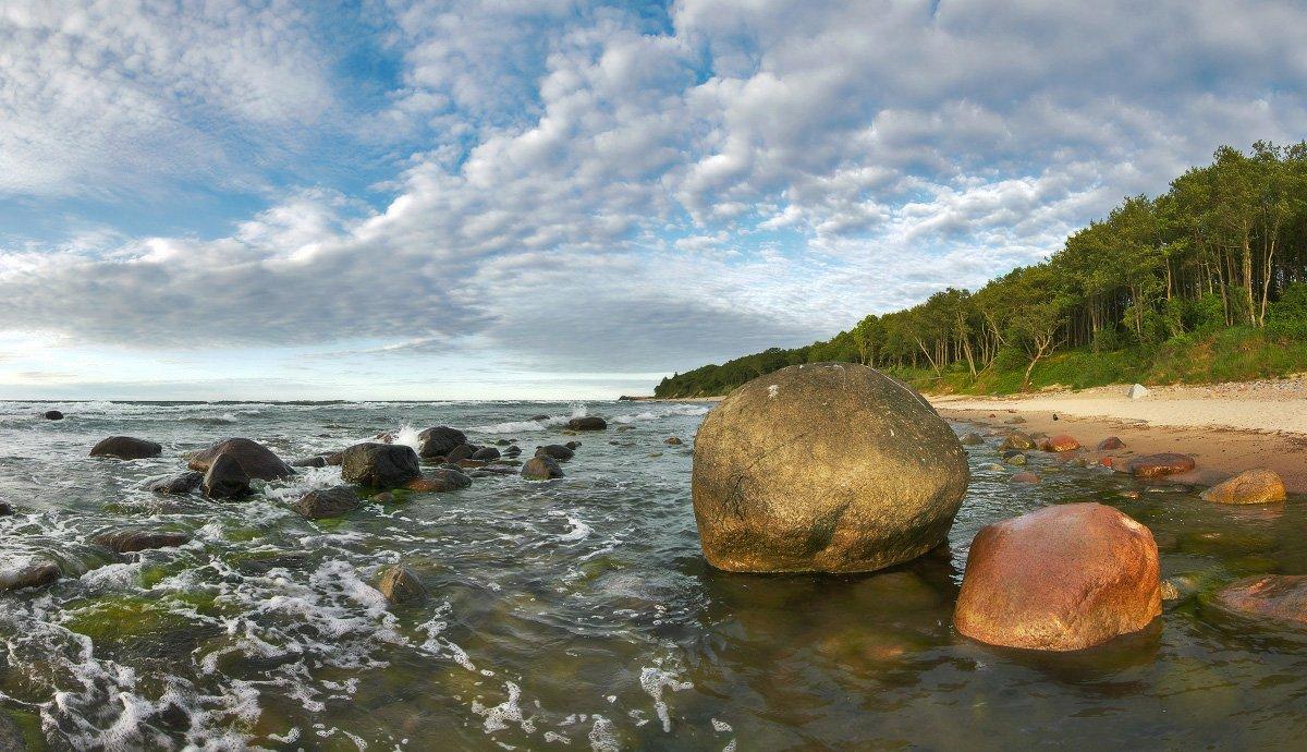 балтийское море, берег, камни, облака, пляж, лес, вечер, Владимир Петрукович